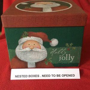 6 Nested Christmas Holiday Gift Boxes NWT